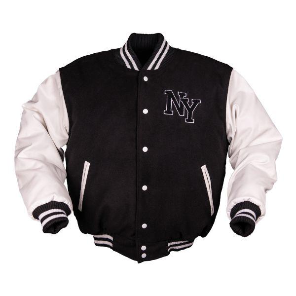 NY Baseballjacke m. Patch schwarz/weiß