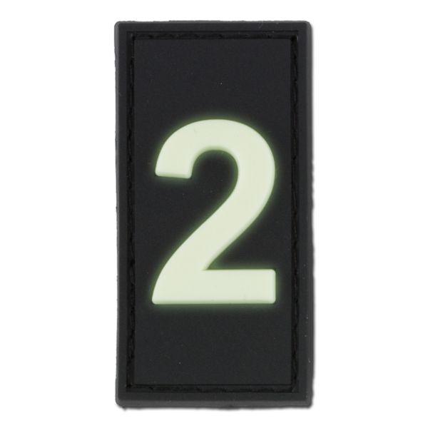 3D ID-Patch Zahl 2 nachleuchtend