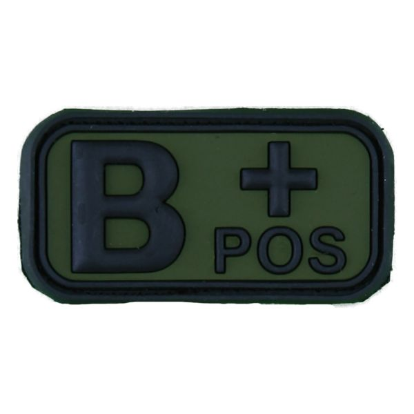 3D Blutgruppenpatch B Pos schwarz-oliv