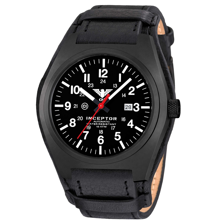 KHS Uhr Inceptor Black Steel Automatic Lederband G-Pad schwarz