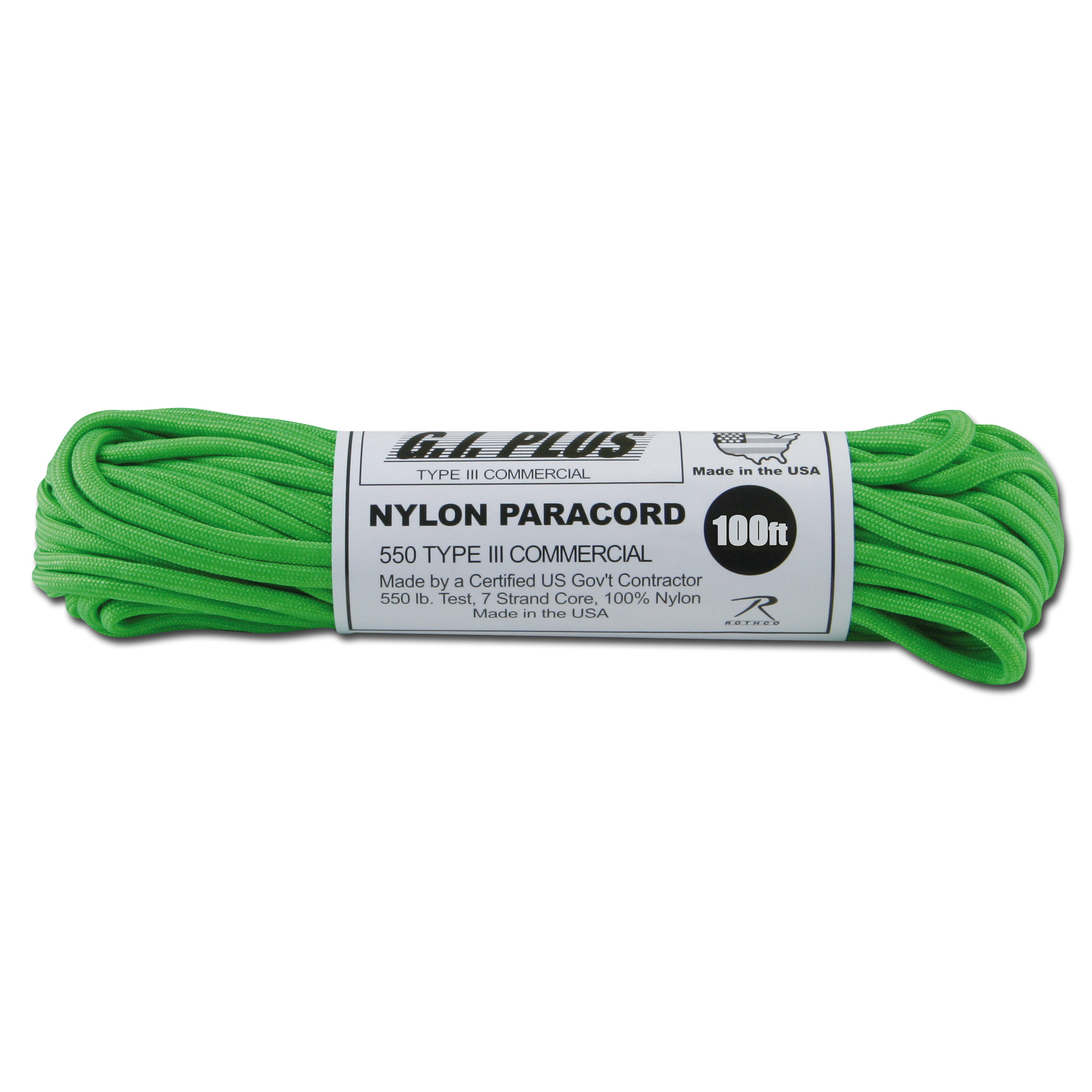 Paracord 550 lb Safety grün 100 ft. Nylon