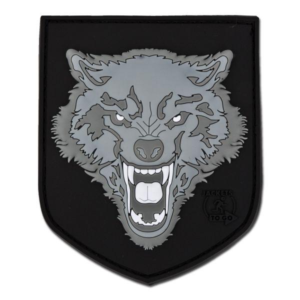 3D-Patch Wolf grau