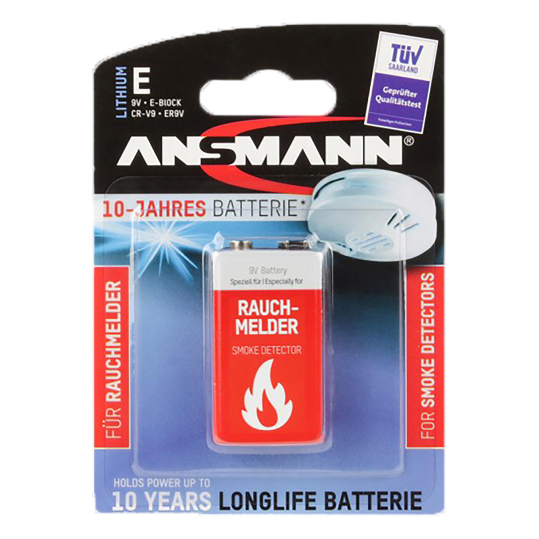 Ansmann Batterie für Rauchmelder Longlife 9V