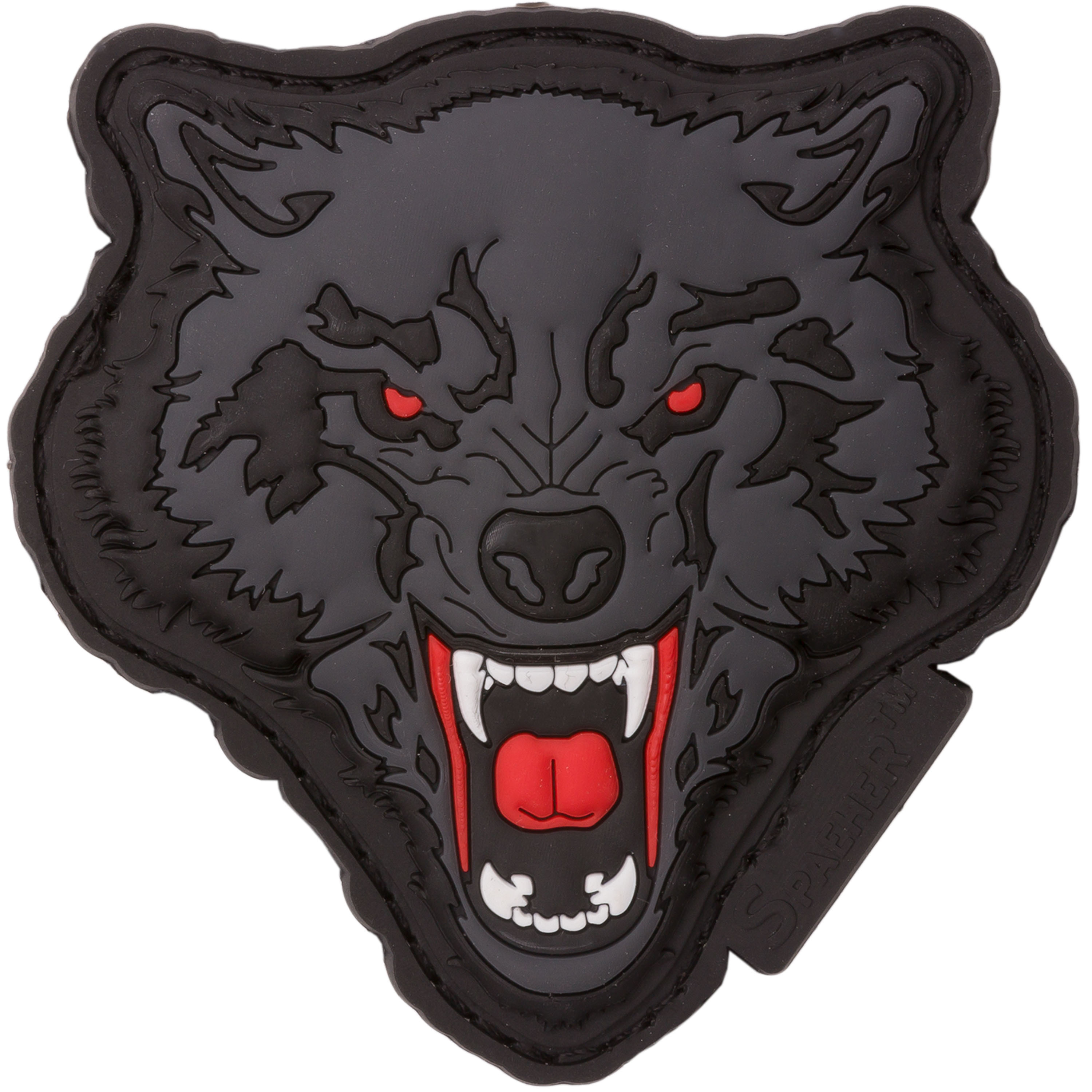 JTG 3D Patch Angry Wolf Head rot-grau