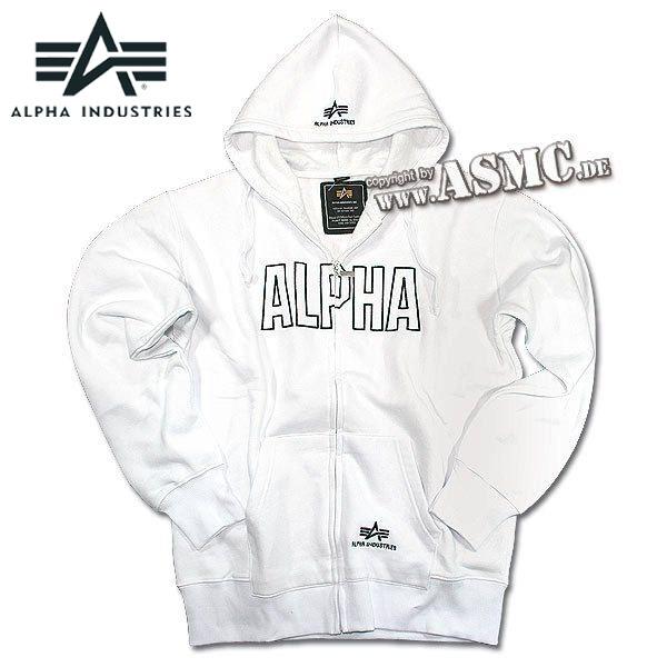 Zip-Sweatshirt Alpha Industries Track Hoody weiß