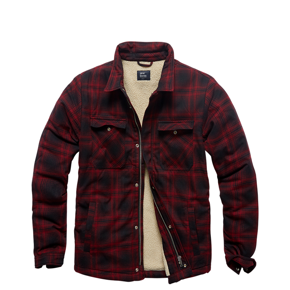 Vintage Industries Jacke Class Sherpa red check