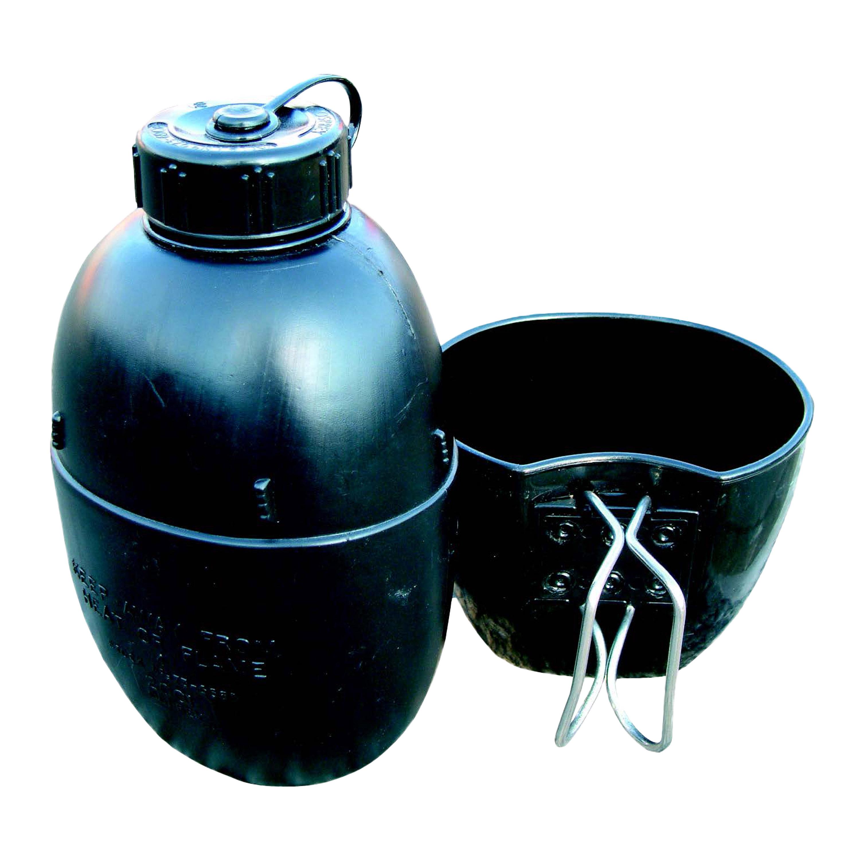 BCB Wasserflasche mit Becher schwarz