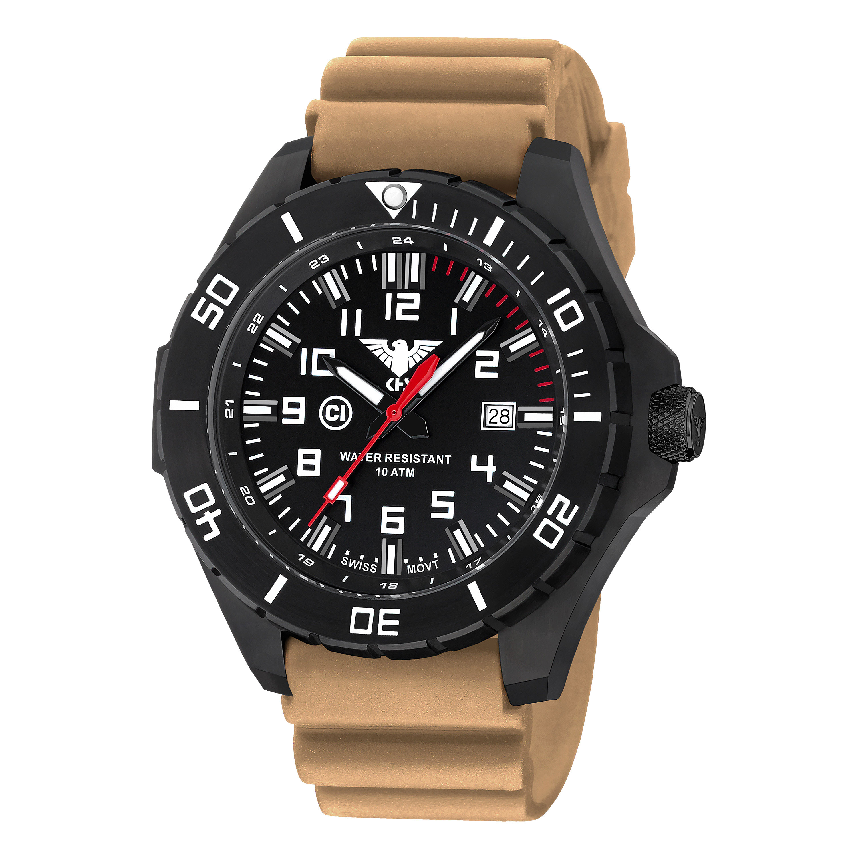 KHS Uhr Landleader Black Steel Diverband tan