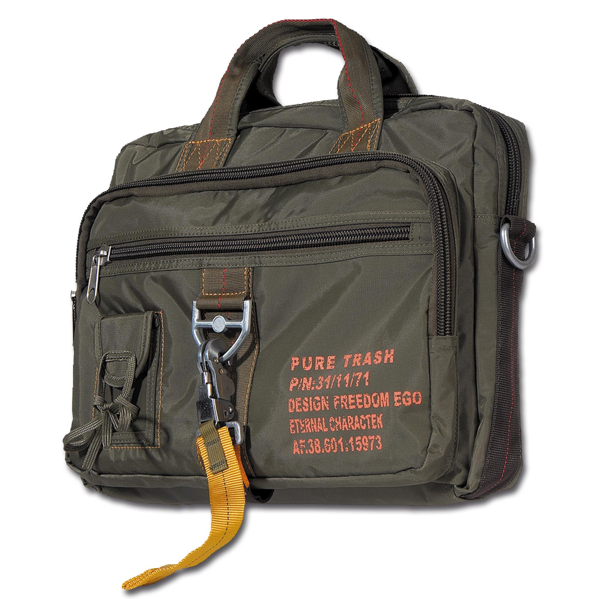 Handtasche Karabiner groß Pure Trash oliv