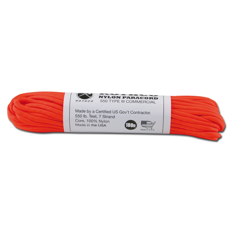 Paracord 550 lb Safety orange 100 ft. Nylon