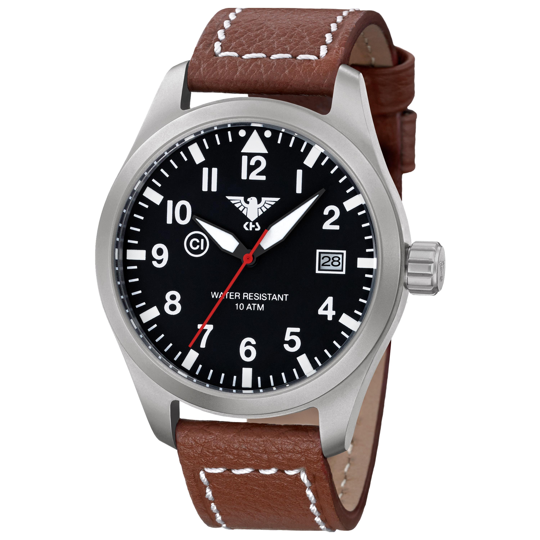 KHS Uhr Airleader Steel Büffellederband braun