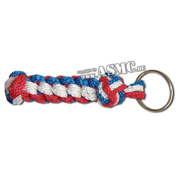 Schlüsselanhänger Seemannsknoten blau-weiss-rot