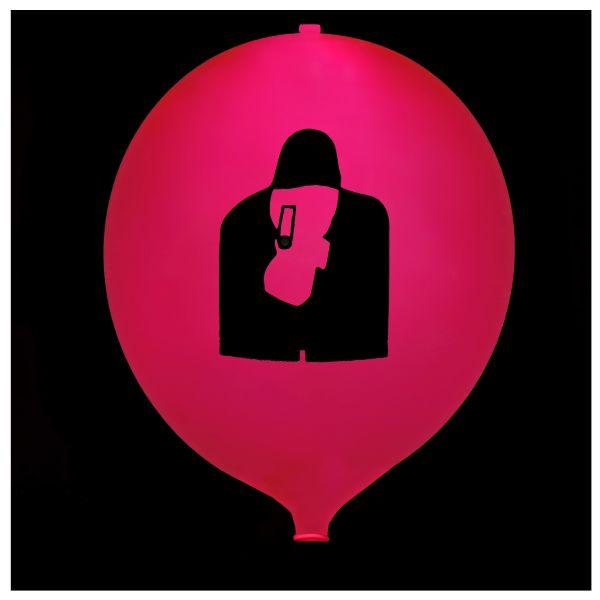 KNIXS Tac Ballon rot dauerleuchtende LED weiß