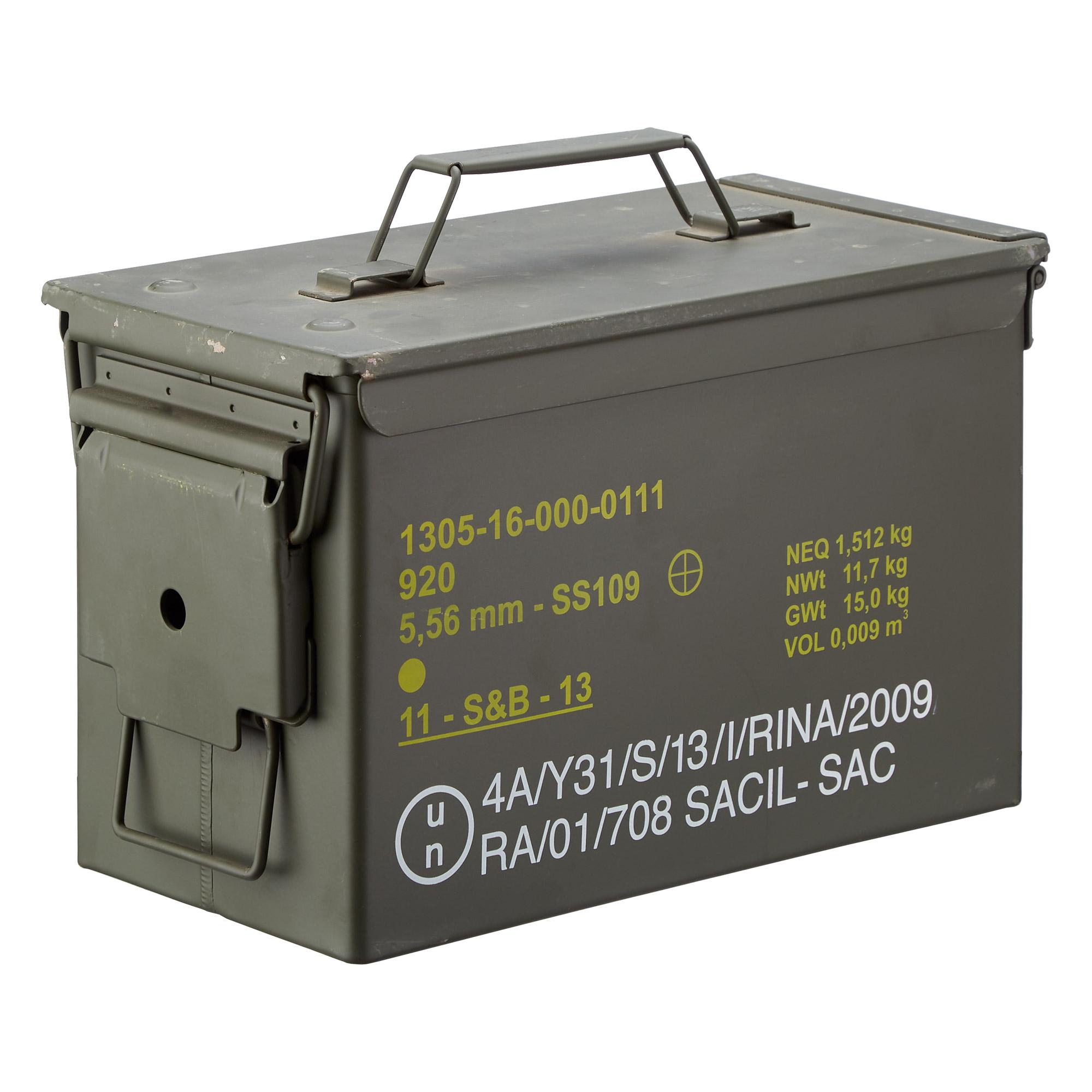 US Munikiste Metall mittel Cal .50/5.56 neuwertig