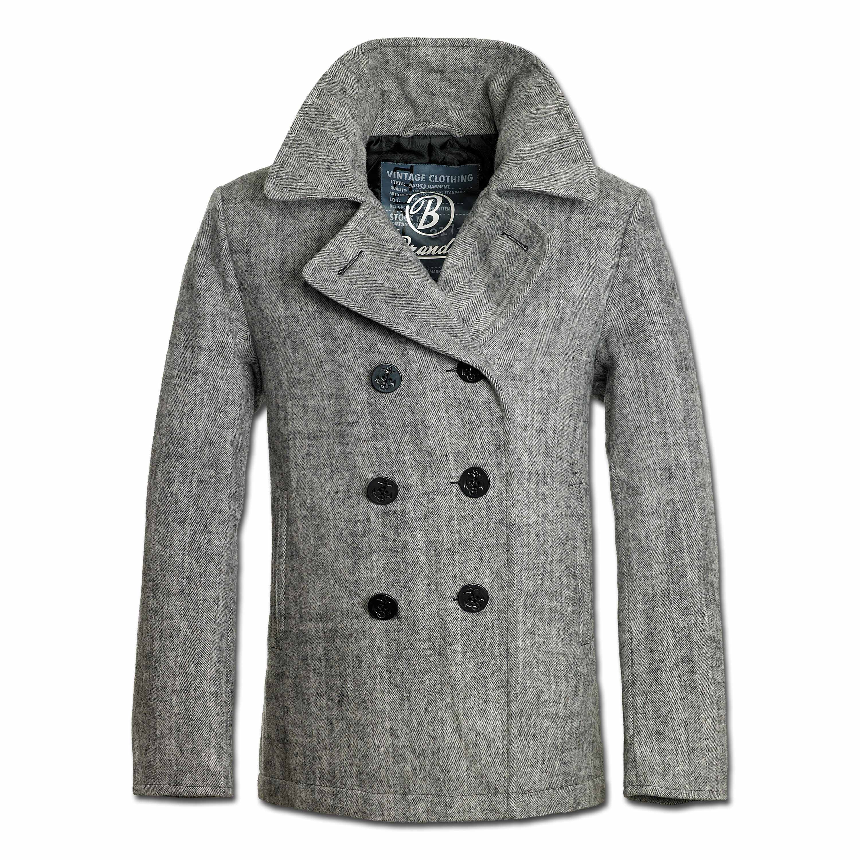 Jacke Brandit Pea Coat anthrazit herringbone