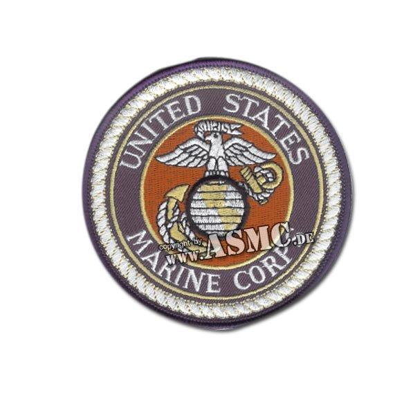 Abzeichen US Textil USMC rund blau-weiß-rot