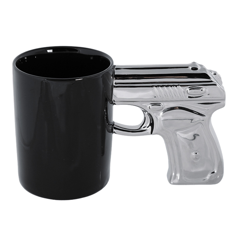 Becher schwarz mit Pistolengriff silber