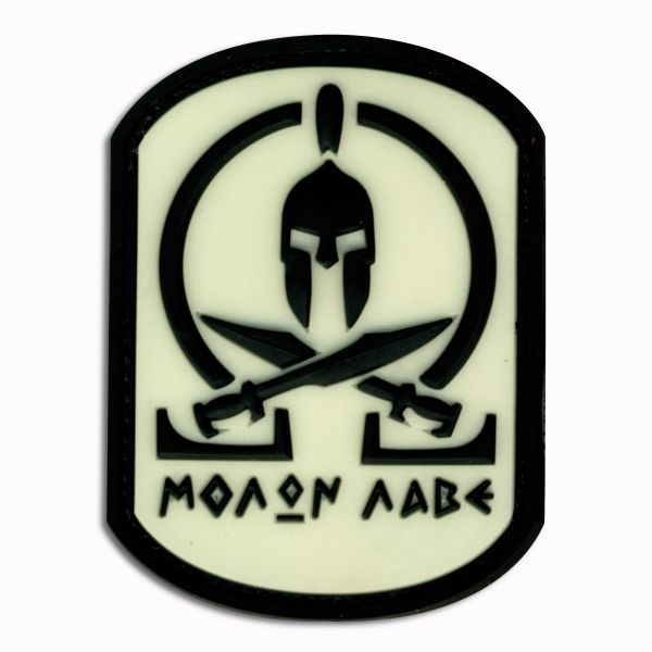3D-Patch Molon Labe Spartan nachleuchtend invers