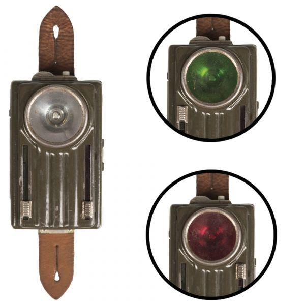 Polnische Taschenlampe 3 Farben Lederlasche oliv gebraucht