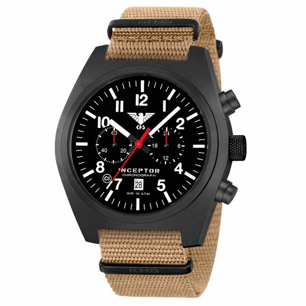 KHS Uhr Inceptor Black Steel Chronograph Natoband tan
