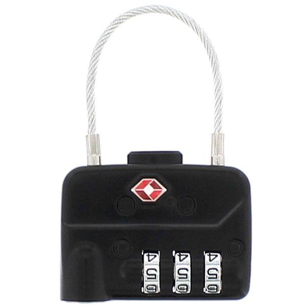 TSA Gepäckschloss Stahlseil Zahlencode 3-stellig quer schwarz
