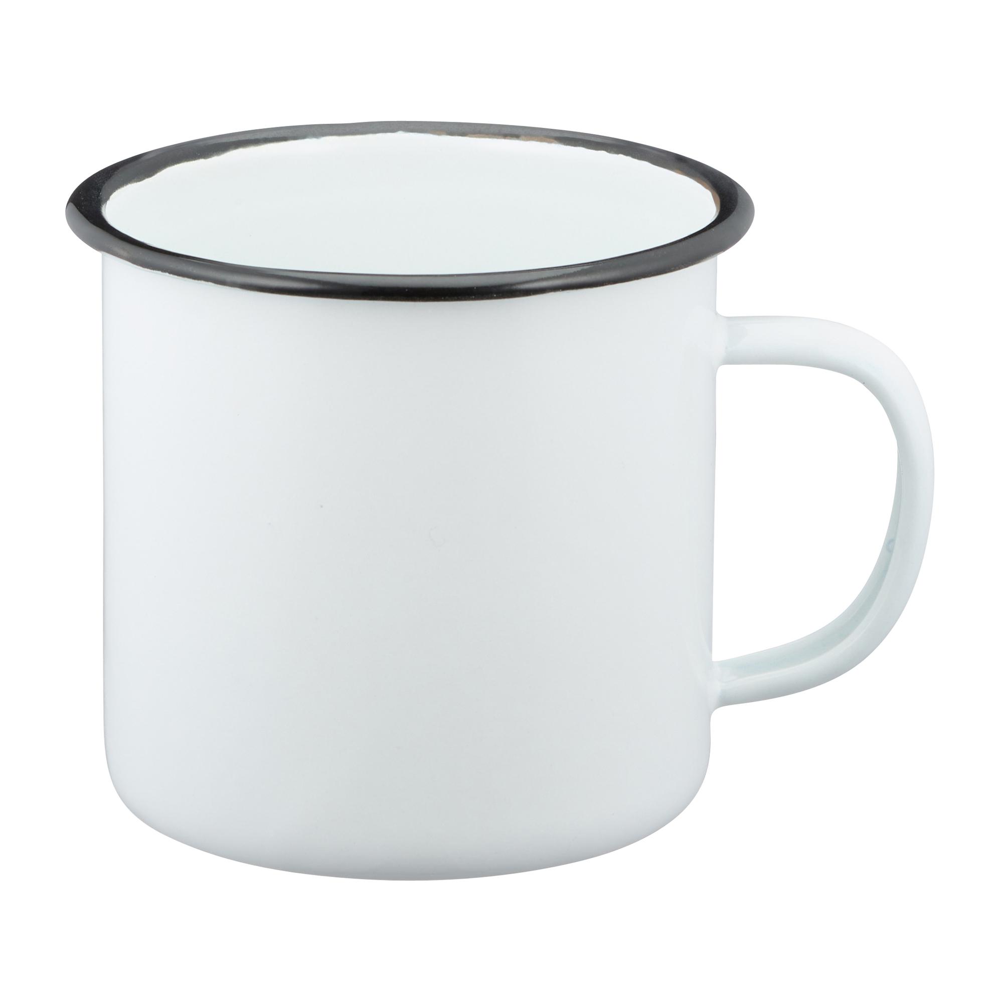 Emaille Tasse 300 ml weiß schwarz