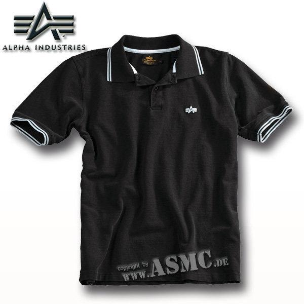 Alpha Twin Stripe Poloshirt schwarz/weiß