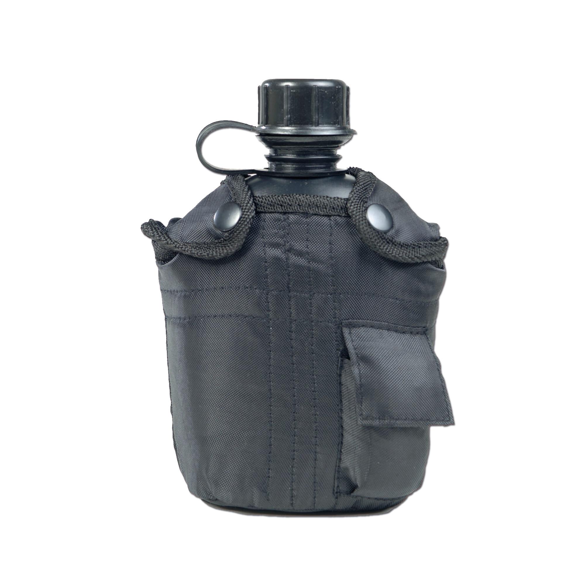 Feldflasche 1 qt. mit Becher und Hülle schwarz