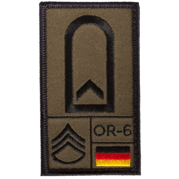 Café Viereck Rank Patch Feldwebel oliv