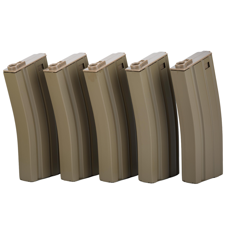 Specna Arms Ersatzmagazinset Mid-Cap 100 Schuss tan 5er Set