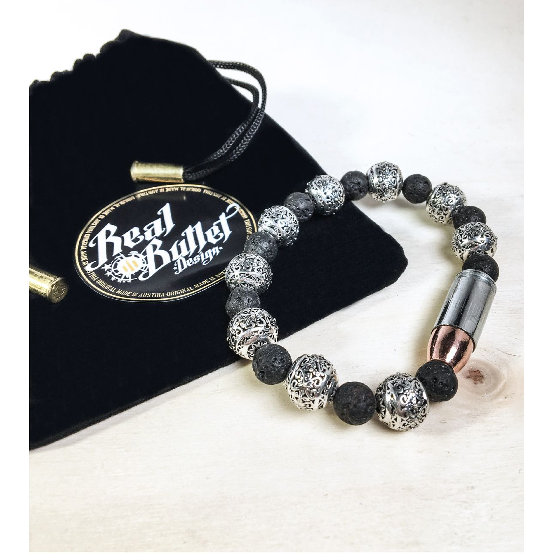 Real Bullet Design Armband Elegance Lava & Silver