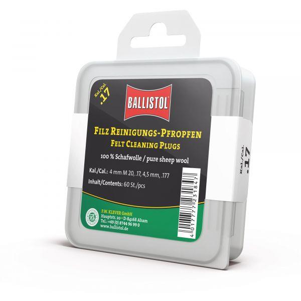 Ballistol Reinigungspfropfen Filz Kal..17/ 4mm / 4.5mm 60 Stück