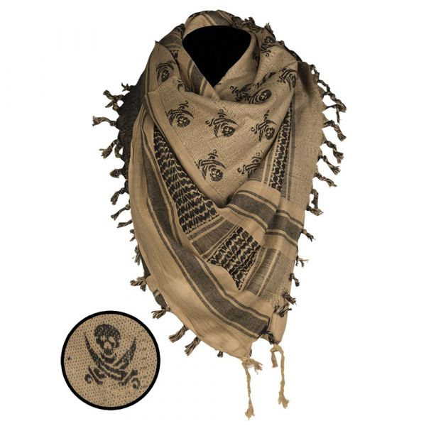 Mil-Tec Shemagh Skull 110x110 cm coyote schwarz