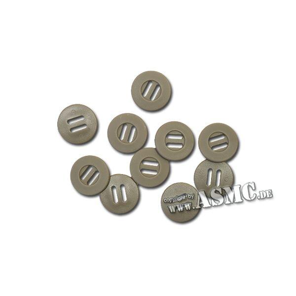 Slotted Button klein 10-er Pack khaki