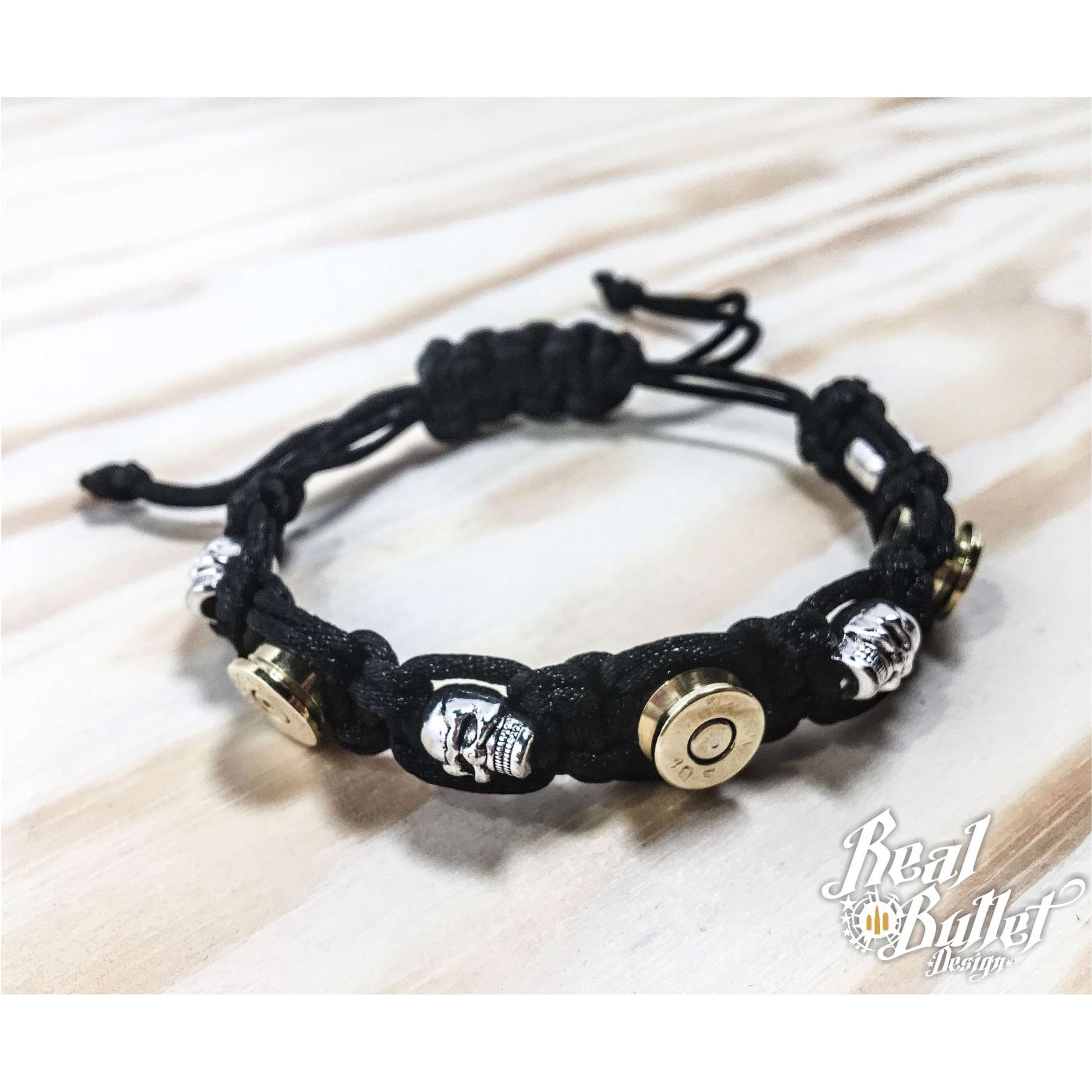 Real Bullet Design Armband Alpha Black Cord Lady
