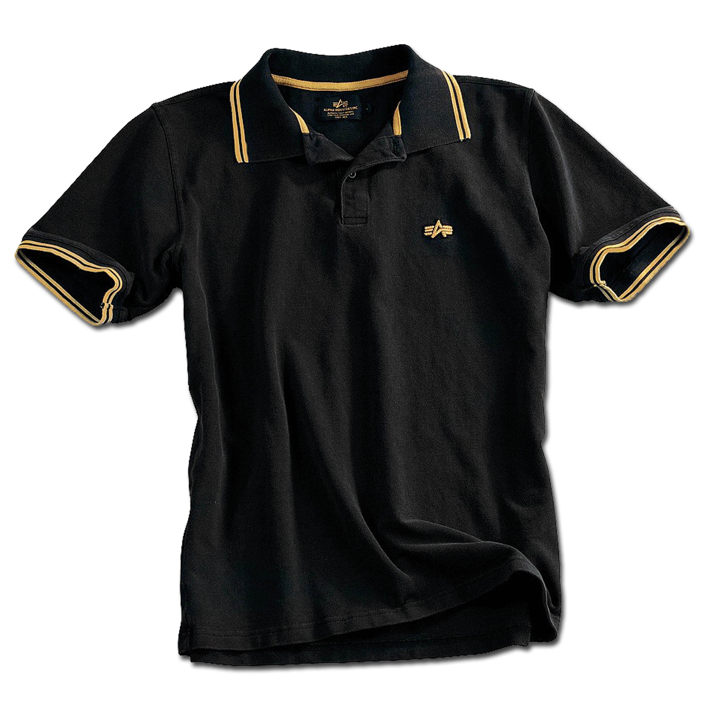Alpha Industries Twin Stripe Polo schwarz-gelb