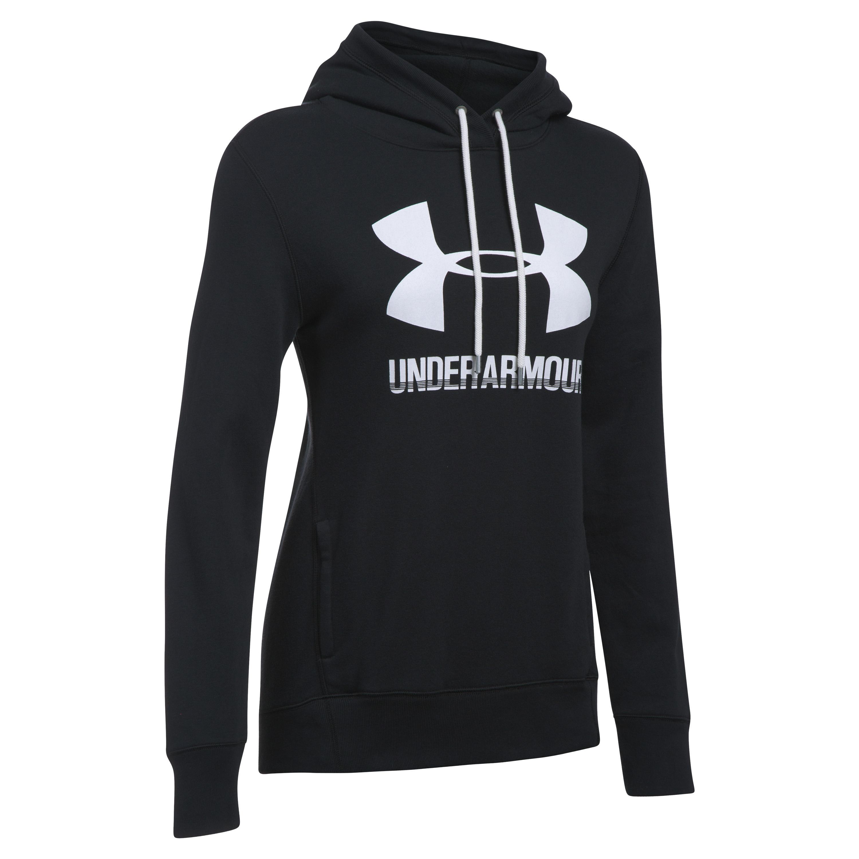 Under Armour Women Hoodie Favorite Fleece Logo schwarz weiß