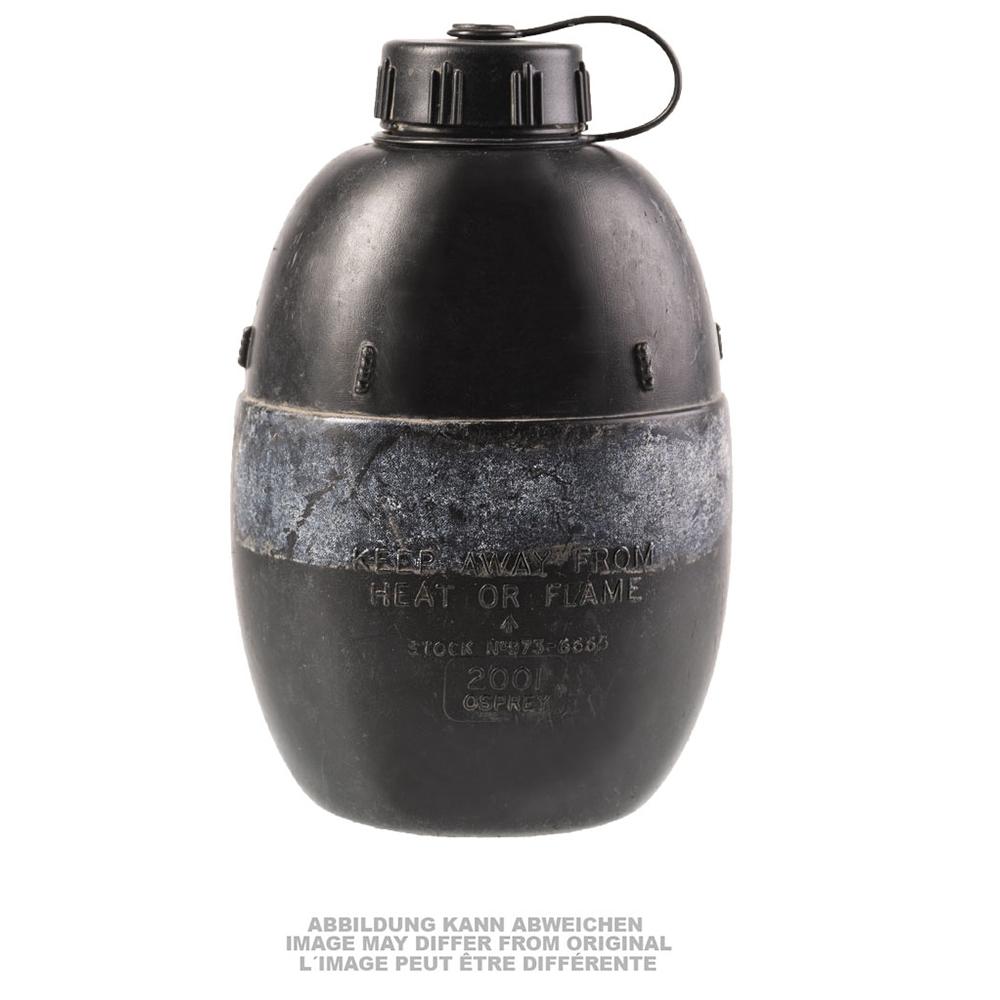 Britische Feldflasche Kunststoff schwarz gebraucht