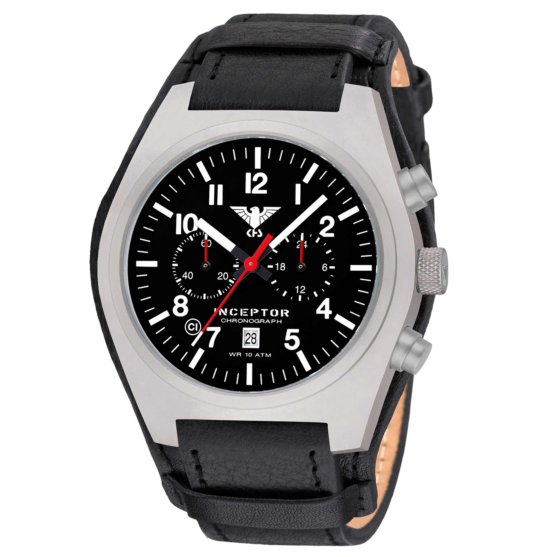 KHS Uhr Inceptor Steel Chronograph Lederband G-Pad schwarz
