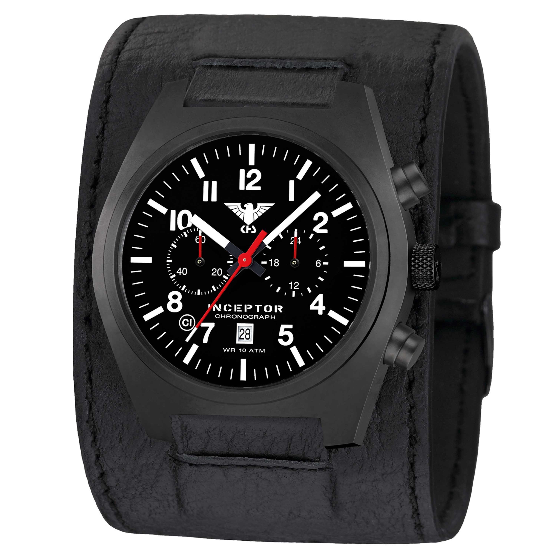 KHS Uhr Inceptor Black Steel Chronograph Lederkraftband schwarz