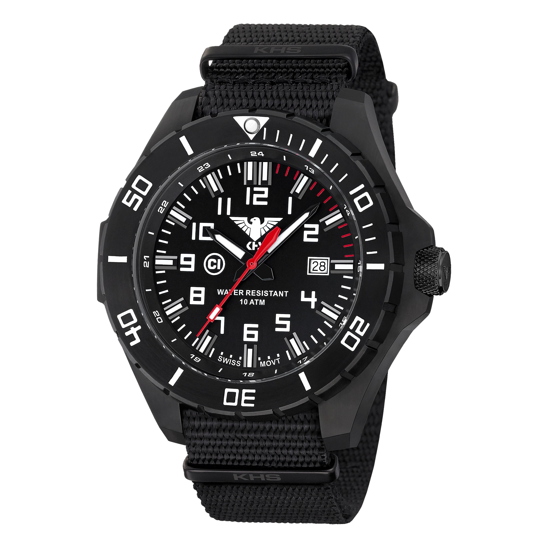 KHS Uhr Landleader Black Steel Natoband schwarz