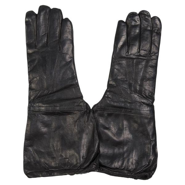 Italienische Handschuhe mit Stulpe Leder schwarz neuwertig