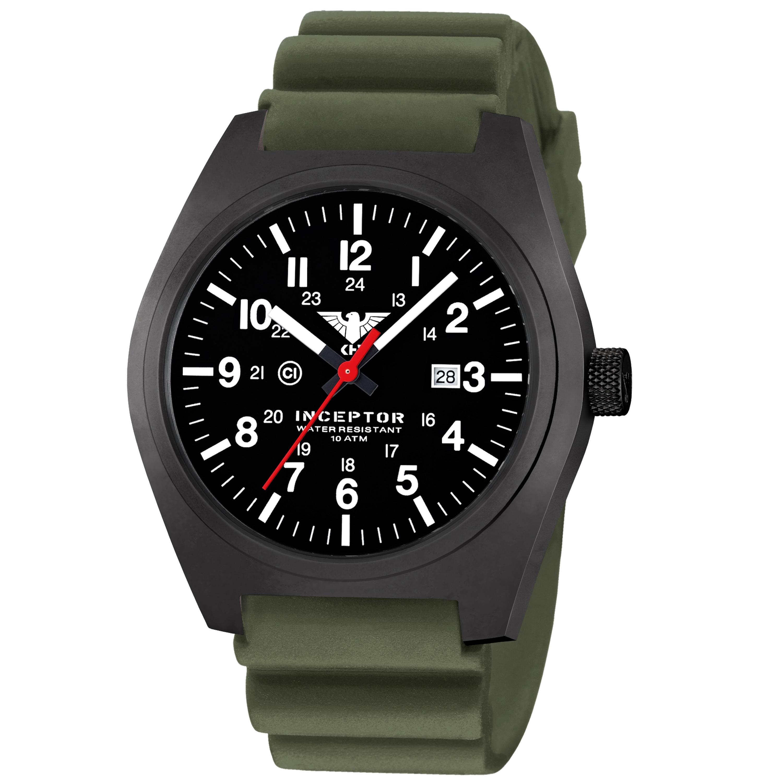 KHS Uhr Inceptor Black Steel Diverband oliv