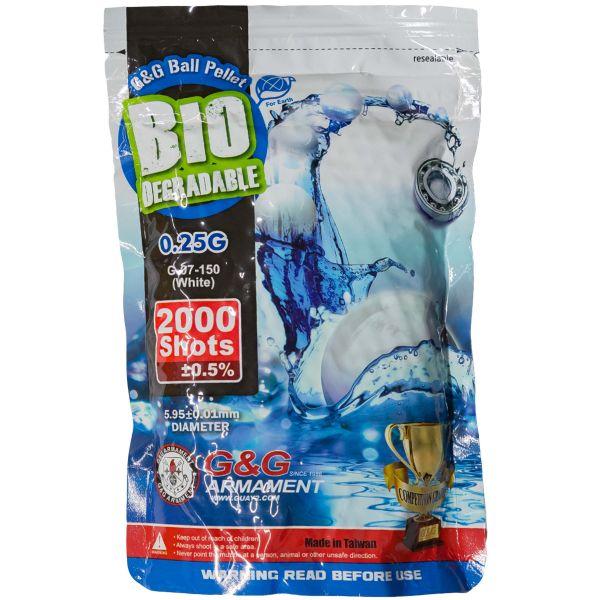 G&G Bio Airsoft BBs 6 mm 0.25 g 2000 Stück weiß