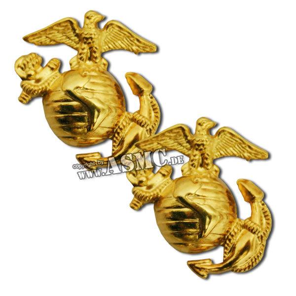 Abzeichen USMC Kragenspiegel gold