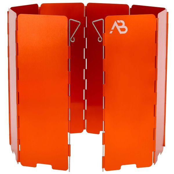AB Gaskocher Windschutz Alu faltbar 8 Lamellen orange