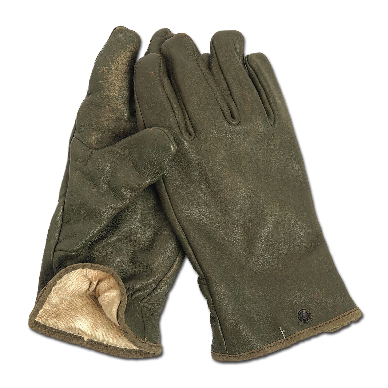 Französische Handschuhe Leder oliv gebraucht