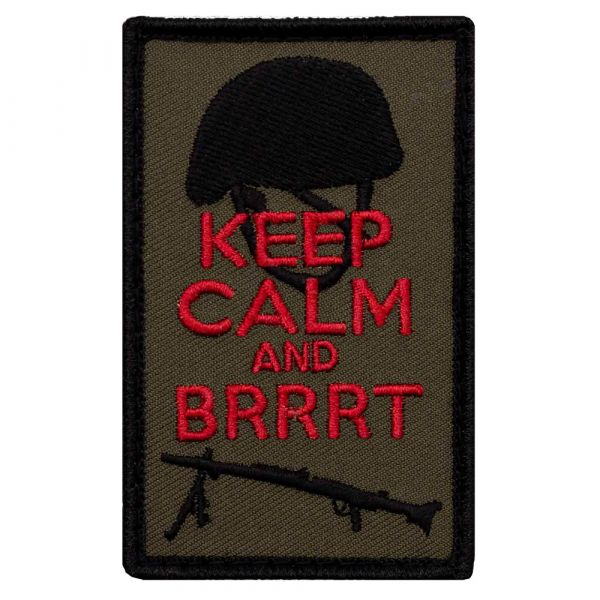Café Viereck Patch Keep calm and Brrrt oliv rot