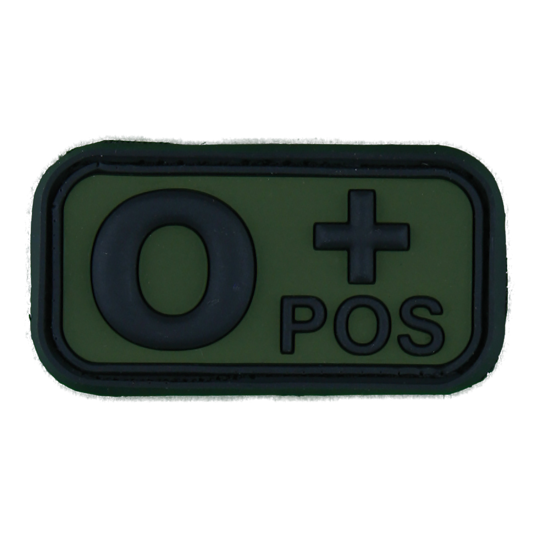 3D Blutgruppenpatch 0 Pos schwarz-oliv
