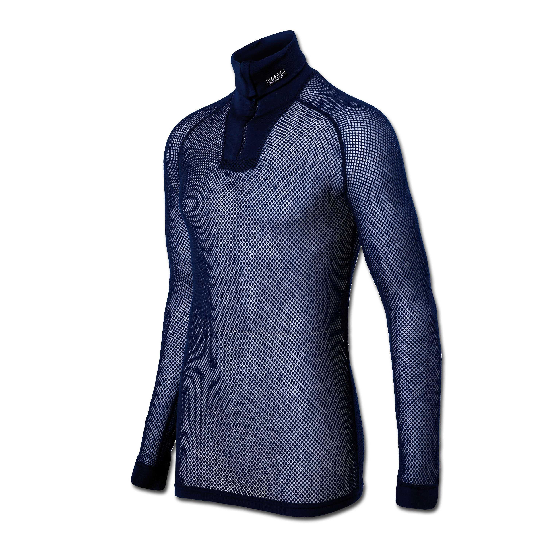 Brynje Zip-Poloshirt blau